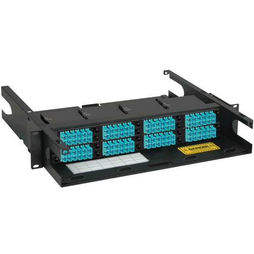 SC to MPO Fiber Optic Rack Mount Enclosure Pre-configured with 8 HD Cassettes with 96 10G Aqua Fibers