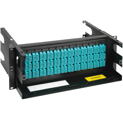 LC to LC Fiber Optic Rack Mount Enclosure Preconfigured with 12 Adapter Panels with 288 10G Aqua Fibers