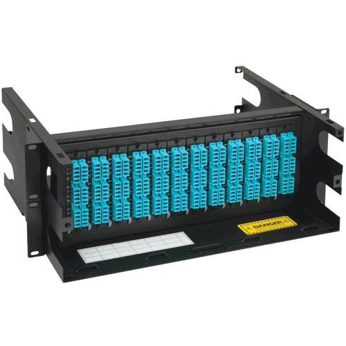 LC to MPO Fiber Optic Rack Mount Enclosure Preconfigured with 12 Cassettes with 288 10G Aqua Fibers