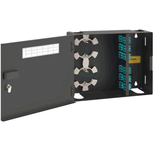 SC to SC Fiber Optic Wall Mount Enclosure Preconfigured with 4 Adapter Panels with 48 10G Aqua Fibers