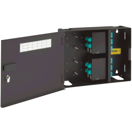 LC to MPO Fiber Optic Wall Mount Enclosure Preconfigured with 4 Cassettes with 96 10G Aqua Fibers