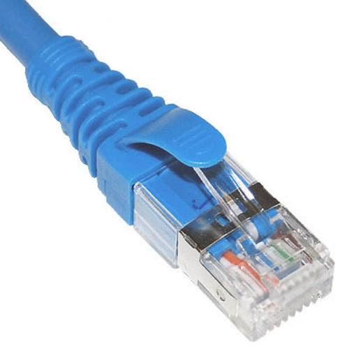 USA Made CAT 6A Ethernet Patch Cord with 26 AWG FTP Blue Cable and Snagless Boot with 55 Feet