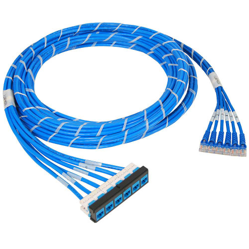 Pre-terminated UTP Cassette Patch Panel Kit with CMR CAT5e Cable Assemblies,  Bezel to Patch Cords