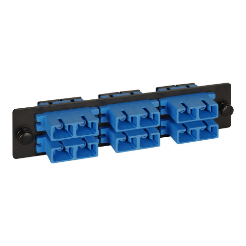 SC to SC Fiber Optic LGX Adapter Panel with Blue Singlemode Adapters for 12 Fibers