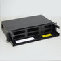 Fiber Optic Empty Rack Mount Enclosure 6 Adapter Panel Spaces No Front Cover
