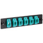 MPO to MPO Fiber Optic LGX Adapter Panel with 6 Aqua Adapters for 144 10G Fibers