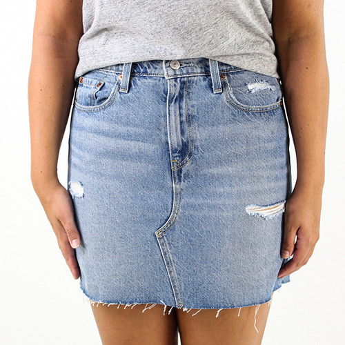 Women's High Rise Deconstructed Iconic Jean Skirt