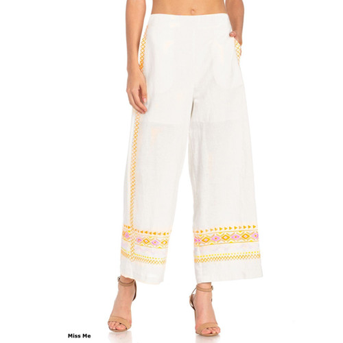 Women's Miss Me Embroidered Geo Wide Leg Pants