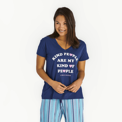 Women's Kind People Snuggle Up Sleep Vee Tee