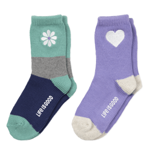 Girls 2-Pack Daisy and Hearts Sock