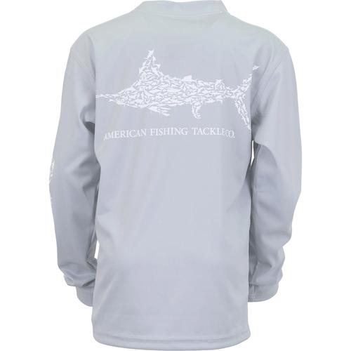 Boy's Aftco Long Sleeve Jigfish Performance Shirt LGRA-Light Gray Back
