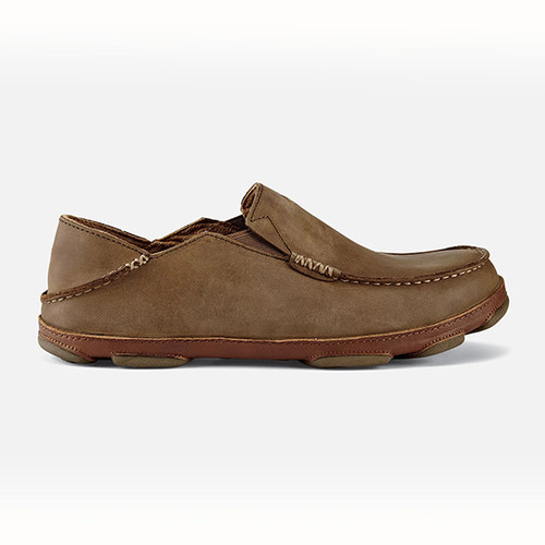 Men's Olukai Moloa Leather Slip On Shoes Ray/Toffee
