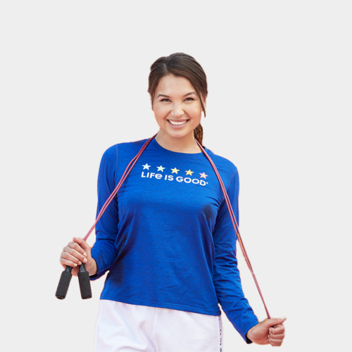 Women's Life Is Good Star Spectrum Active T-Shirt Front