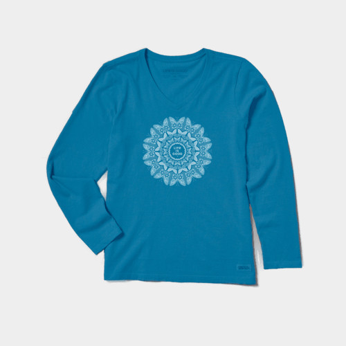 Women's Life Is Good Butterfly Mandala Crusher Tee Front