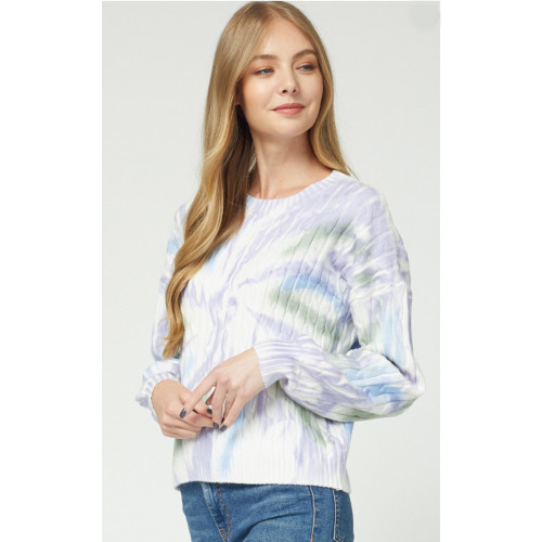 Women's Entro Tie Dye Cable Knit Sweater