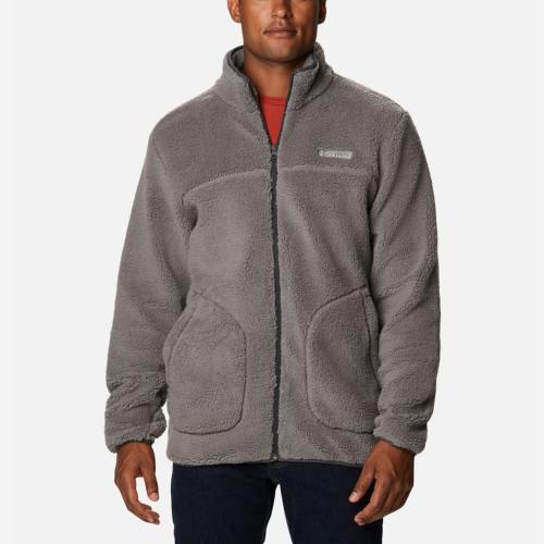 Men's Columbia Rugged Ridge II Sherpa Full Zip Fleece Jacket Grey Front