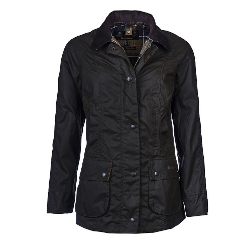 Women's Barbour Olive Classic Beadnell Wax Jacket