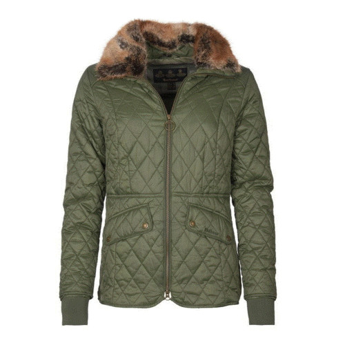 Women's Barbour Olive Hawthorne Quilted Jacket