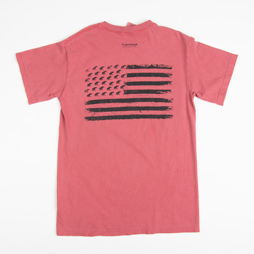 Men's Tuskwear Alabama Short Sleeve Blackout Flag T-Shirt Crimson Back