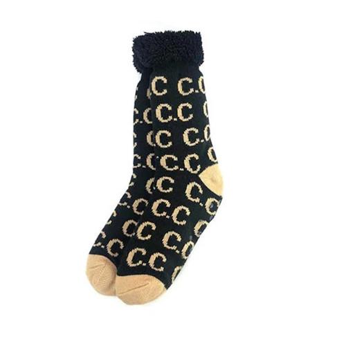 Women's Girlie Girl Sherpa Socks Logo Black Camel