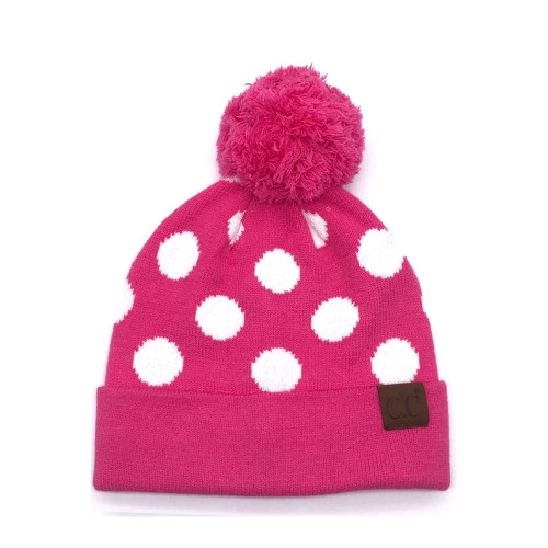 Women's Girlie Girl Polka Dot Pom Beanie Candy Pink