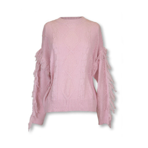 Women's Simply Southern Pink Fringe Sleeve Sweater