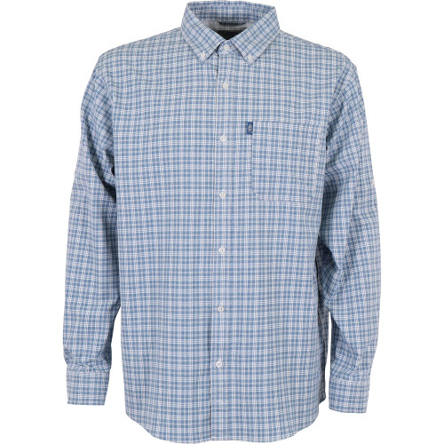 Men's Aftco Dorsal Long Sleeve Button Down Shirt Space Blue Heather Front