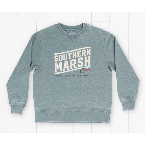 Boys' Southern Marsh Fly Line Burnt Sage Sweatshirt Back