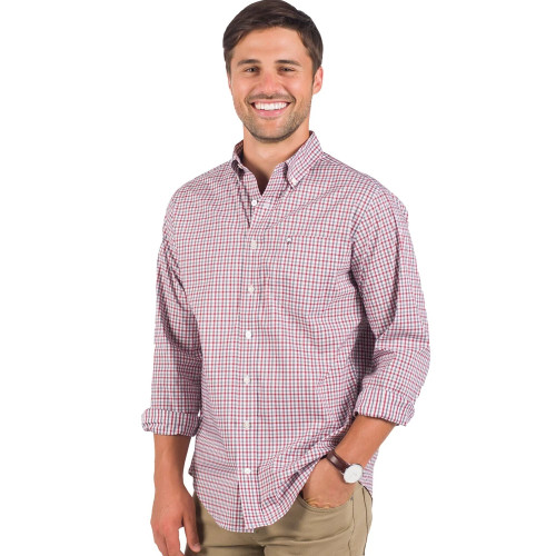 Men's Southern Shirt Campus Check Shirt -Modern Fit -Red