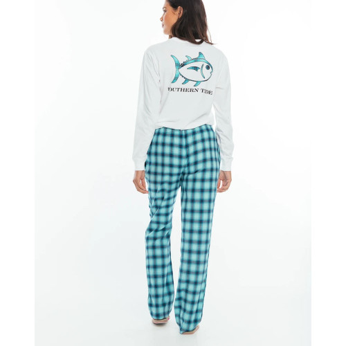 Women's Southern Tide Plaid Lounge Pant Patina Back
