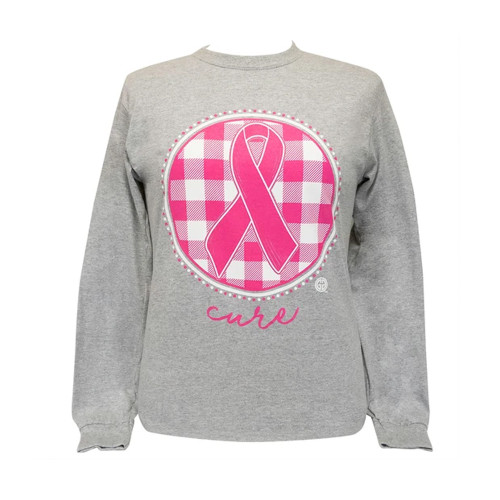 Women's Girlie Girl Cure Ribbon Plaid Long Sleeve Tee Front