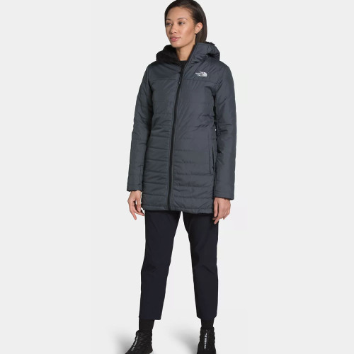 Women's The North Face Mossbud Insulated Reversible Parka F9L-Vandis Grey Front