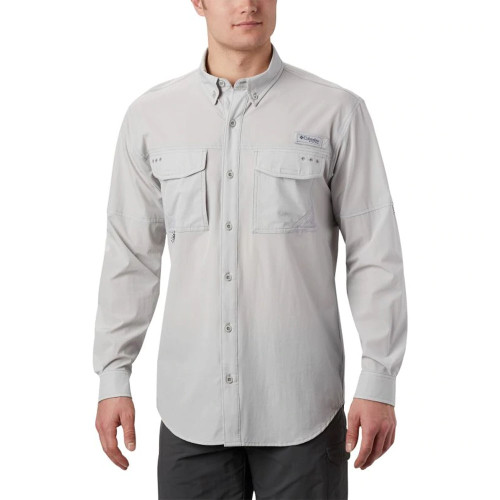 Men's Columbia Long Sleeve Permit Woven Shirt -Grey Front