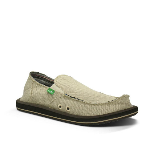Men's Sanuk Sidewalk Surfers Hemp Slip Ons  Natural Front