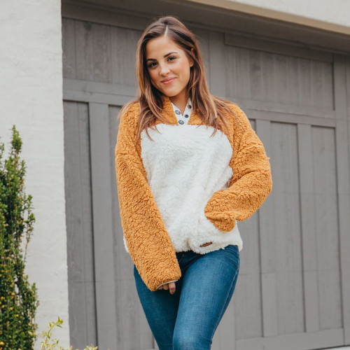 Women's Simply Southern Two Tone Sherpa Pullover Mustard/White on Model