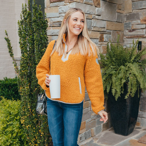 Women's Simply Southern Yoke Neck Pullover Mustard Front