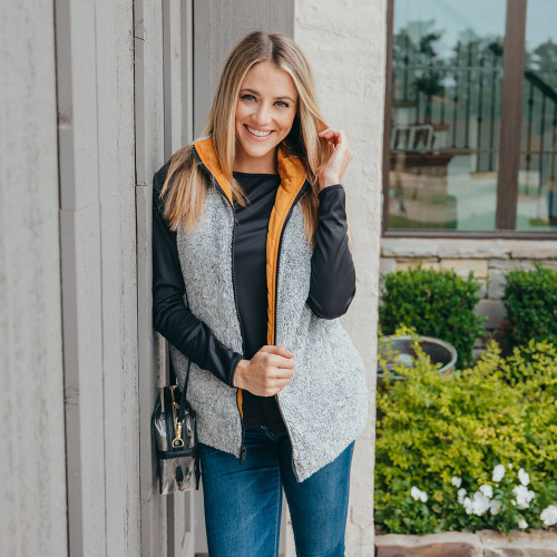 Women's Simply Southern Reversible Vest Mustard Fleece