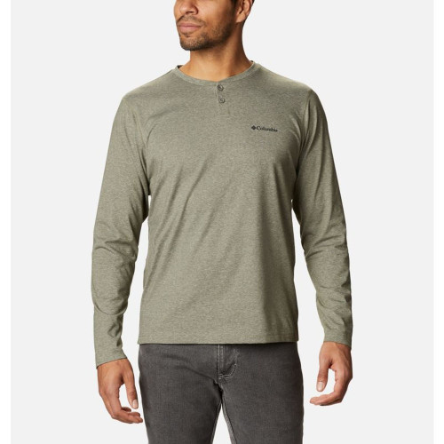 Men's Columbia Thistletown Park Long Sleeve Henley Stone Green Heather Front
