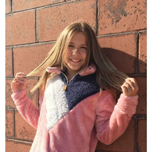Girls' Simply Southern Color Block Quarter Zip Sherpa Pink