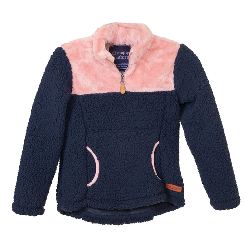 Girls' Simply Southern 1/4 Zip Sherpa Pullover Navy