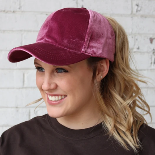 Women's Girlie Girl Velvet Baseball Cap Dark Rose