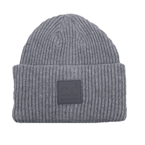 Women's Girlie Girl C.C. Rubber Patch Beanie Light Grey