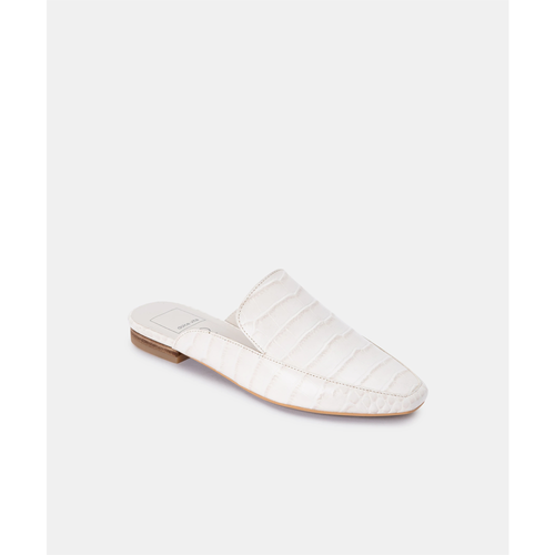 Women's Dolce Vita Harmny Flats in Ivory Croc Leather Front