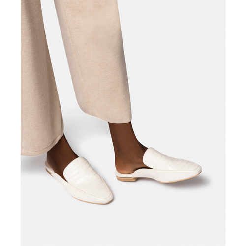 Women's Dolce Vita Harmny Flats in Ivory Croc Leather