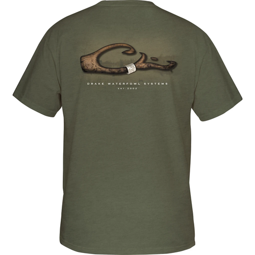 Men's Drake Short Sleeve Band on Logo Tee Military Heather