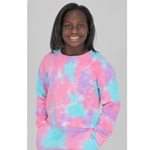 Girls' Candy Pink Lilac Sorbet Tie Dye Cropped Sweatshirt Front