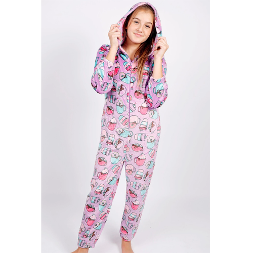 Girl's Candy Pink Lilac Hot Chocolate Onesie