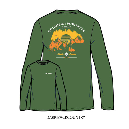 "Men's Columbia Long Sleeve ""Billt"" Tee Dark Backcountry Green"