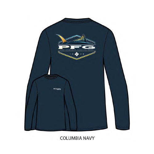 "Men's Columbia PFG Long Sleeve ""Finn"" Tee in Columbia Navy"