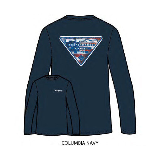 "Men's Columbia Long Sleeve PFG ""Duke"" Tee Columbia Navy"